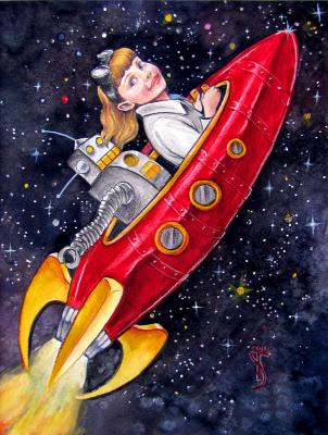 Super-Awesome Sylvia ride into outer-space with her robot friend GleepGlop