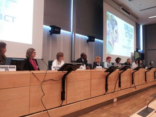 Sylvia and other panelists on the Girls in ICT Panel at the ITU for the United Nations in Geneva, Switzerland on April 15th, 2014