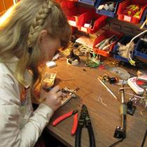 Sylvia working on the junkbot